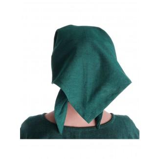 Mittelalter Kopftuch Laudamie in Grün Rückansicht