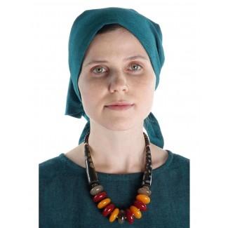 Mittelalter Kopftuch Laudamie in Grün Frontansicht