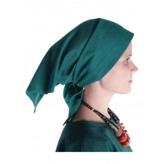 Mittelalter Kopftuch Laudamie in Grün Seitenansicht