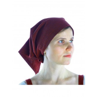 Mittelalter Kopftuch Laudamie in Rot Seitenansicht