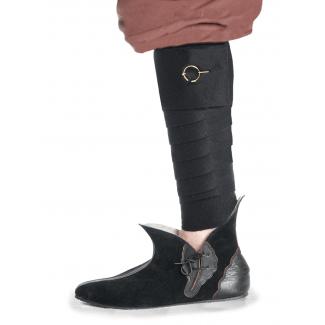 Mittelalter Wadenwickel Balder Set mit Fibeln in Schwarz Frontansicht