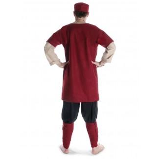 Mittelalter Wadenwickel Balder Set mit Fibeln in Rot Rückansicht