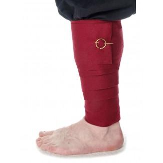 Mittelalter Wadenwickel Balder Set mit Fibeln in Rot Frontansicht