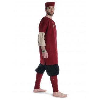 Mittelalter Wadenwickel Balder Set mit Fibeln in Rot Frontansicht 2