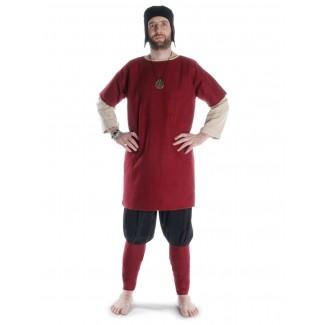 Mittelalter Wadenwickel Balder Set mit Fibeln in Rot Frontansicht 3