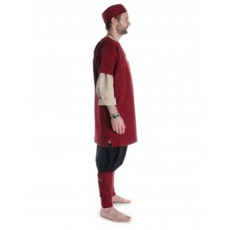 Mittelalter Wadenwickel Balder Set mit Fibeln in Rot Seitenansicht