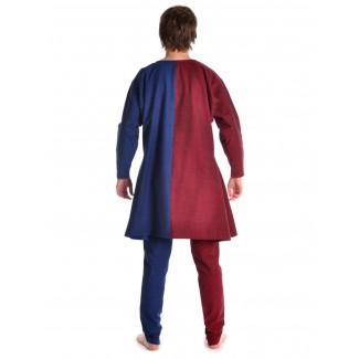 Mittelalter Tunika Alphart in Rot-Blau Rückansicht
