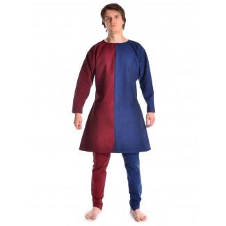 Mittelalter Tunika Alphart in Rot-Blau Frontansicht