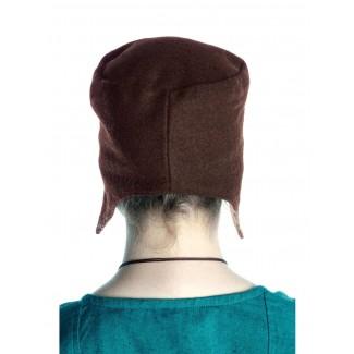 Mittelalter Kappe Breide in Braun Rückansicht