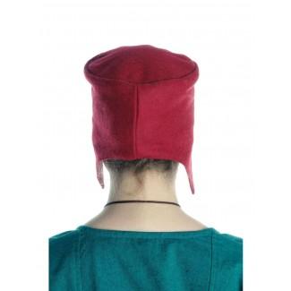 Mittelalter Kappe Breide in Rot Rückansicht