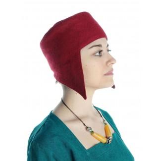Mittelalter Kappe Breide in Rot Seitenansicht