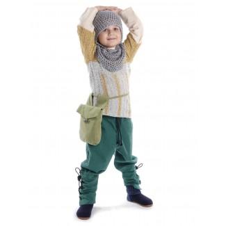 Mittelalter Kinder Hose Sigestab in Grün Frontansicht