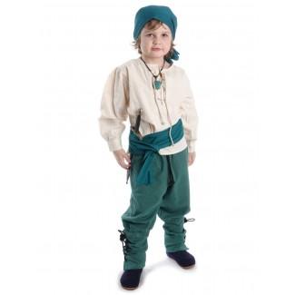 Mittelalter Kinder Hose Sigestab in Grün Frontansicht 3