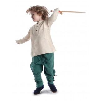 Mittelalter Kinder Hose Sigestab in Grün Frontansicht 4
