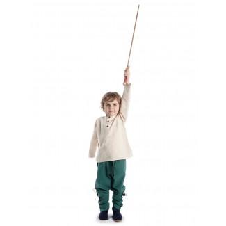 Mittelalter Kinder Hose Sigestab in Grün Frontansicht 5