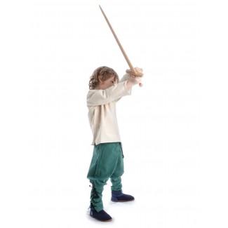 Mittelalter Kinder Hose Sigestab in Grün Seitenansicht 4