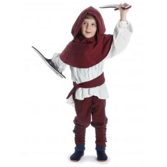 Mittelalter Kinder Hose Sigestab in Rot Frontansicht
