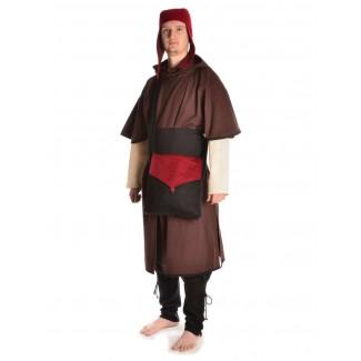 Mittelalter Tasche Dwain in Schwarz-Rot Frontansicht