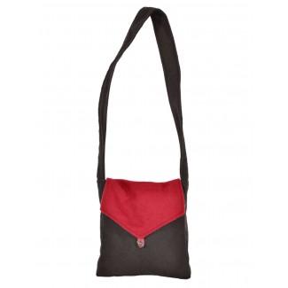 Mittelalter Tasche Dwain in Schwarz-Rot Frontansicht 2