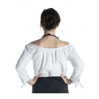 Mittelalter Bluse Swanwhit in Weiß Rückansicht