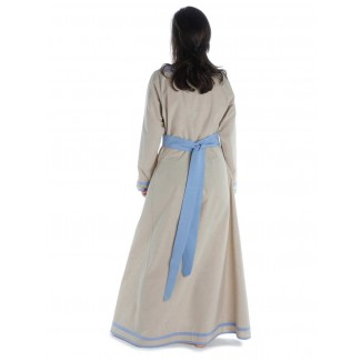 Wikinger Kleid Hildr in Hanffarben-Hellblau Rückansicht 2