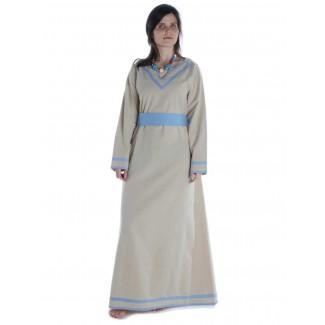 Wikinger Kleid Hildr in Hanffarben-Hellblau Frontansicht 2