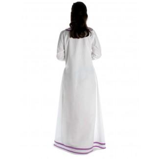 Wikinger Kleid Hildr in Weiß-Violett Rückansicht