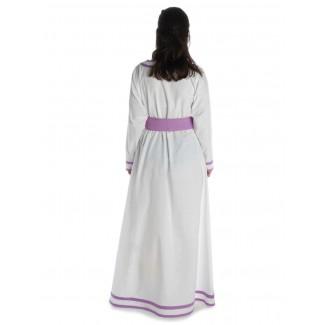 Wikinger Kleid Hildr in Weiß-Violett Rückansicht 2