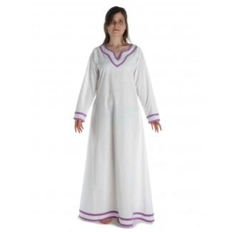 Wikinger Kleid Hildr in Weiß-Violett Frontansicht