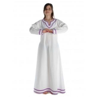 Wikinger Kleid Hildr in Weiß-Violett Frontansicht 2