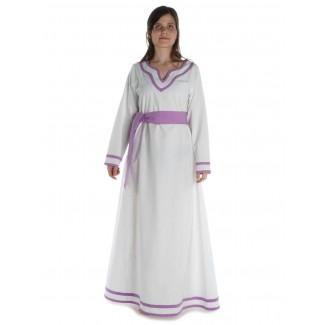Wikinger Kleid Hildr in Weiß-Violett Frontansicht 3