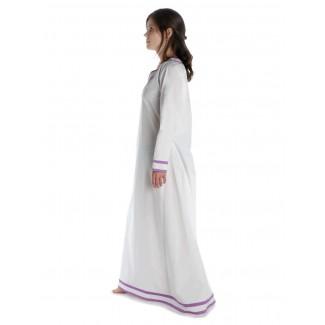Wikinger Kleid Hildr in Weiß-Violett Seitenansicht