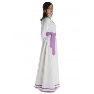 Wikinger Kleid Hildr in Weiß-Violett Seitenansicht 2