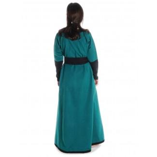 Mittelalter Kleid Skalmöld in Grün-Schwarz Rückansicht