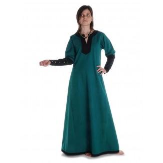 Mittelalter Kleid Skalmöld in Grün-Schwarz Frontansicht