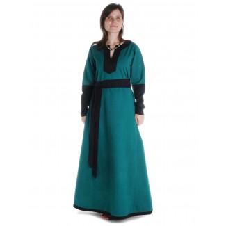 Mittelalter Kleid Skalmöld in Grün-Schwarz Frontansicht 2