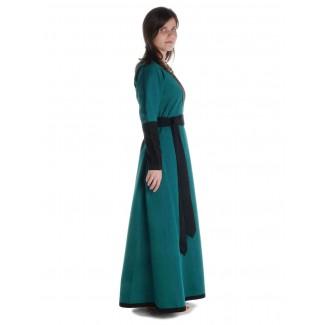 Mittelalter Kleid Skalmöld in Grün-Schwarz Seitenansicht