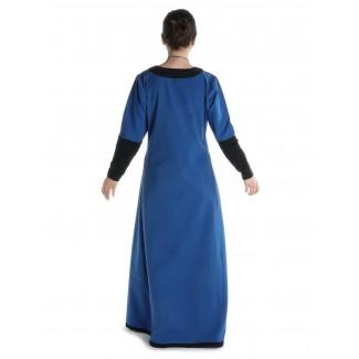 Mittelalter Kleid Skalmöld in Königsblau-Schwarz Rückansicht