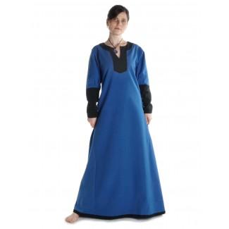 Mittelalter Kleid Skalmöld in Königsblau-Schwarz Frontansicht