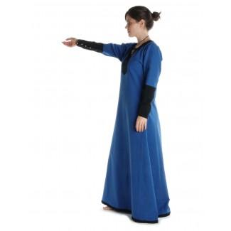 Mittelalter Kleid Skalmöld in Königsblau-Schwarz Seitenansicht