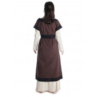 Mittelalter Kleid Linde in Braun-Schwarz Rückansicht