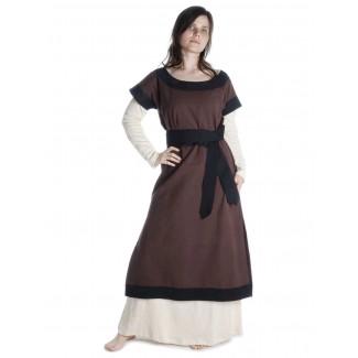 Mittelalter Kleid Linde in Braun-Schwarz Frontansicht