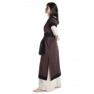 Mittelalter Kleid Linde in Braun-Schwarz Seitenansicht