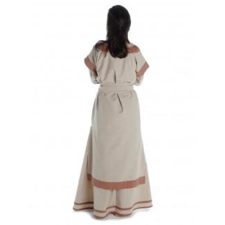 Mittelalter Kleid Linde in Hanffarben-Hellbraun Rückansicht 2
