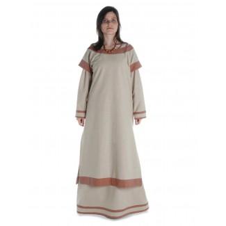 Mittelalter Kleid Linde in Hanffarben-Hellbraun Frontansicht