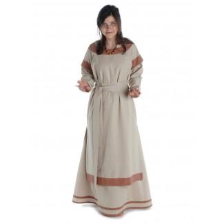 Mittelalter Kleid Linde in Hanffarben-Hellbraun Frontansicht 2