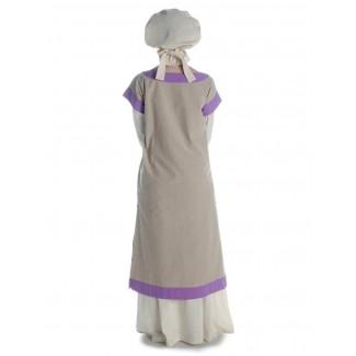 Mittelalter Kleid Linde in Hanffarben-Violett Rückansicht