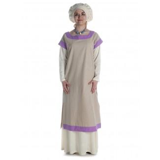 Mittelalter Kleid Linde in Hanffarben-Violett Frontansicht