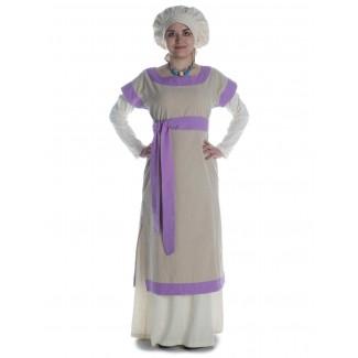Mittelalter Kleid Linde in Hanffarben-Violett Frontansicht 2