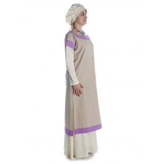 Mittelalter Kleid Linde in Hanffarben-Violett Seitenansicht